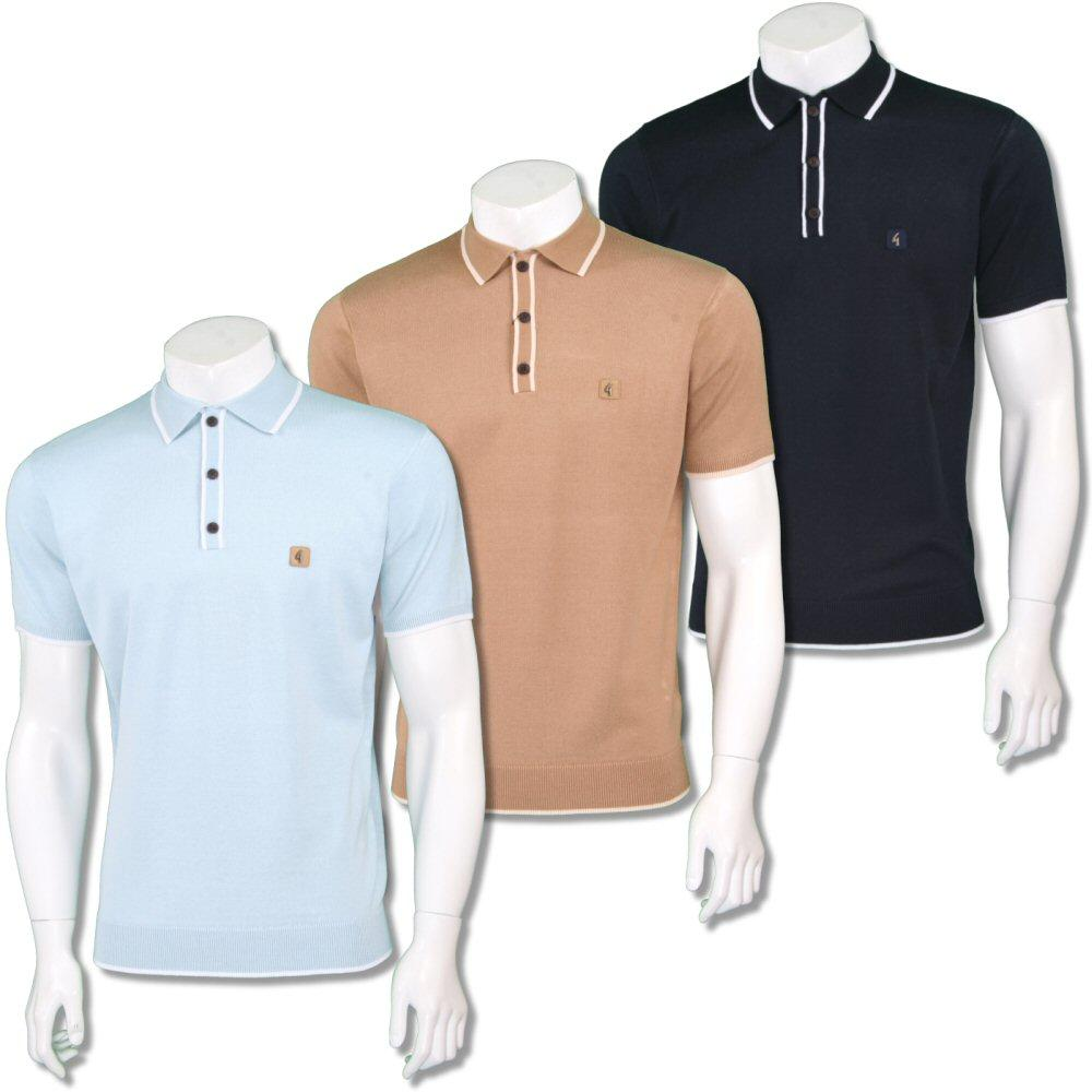 Gabicci Vintage Mens Retro Plain Knit Tipped Placket Polo