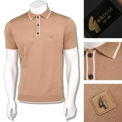 Gabicci Vintage Mens Retro Plain Knit Tipped Placket Polo Thumbnail 3
