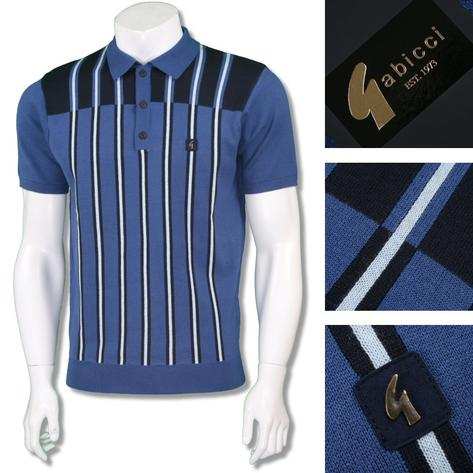 Gabicci Vintage Mens Retro Multi Contrast Stripe Knit Polo Thumbnail 3