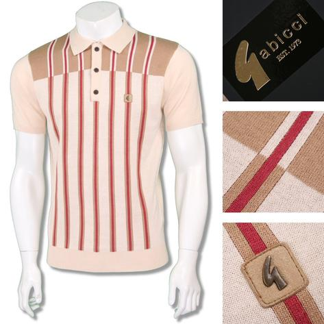 Gabicci Vintage Mens Retro Multi Contrast Stripe Knit Polo Thumbnail 4
