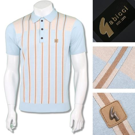 Gabicci Vintage Mens Retro Multi Contrast Stripe Knit Polo Thumbnail 2