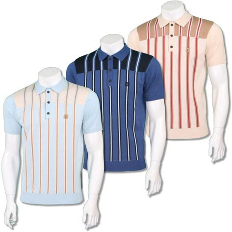 Gabicci Vintage Mens Retro Multi Contrast Stripe Knit Polo Thumbnail 1