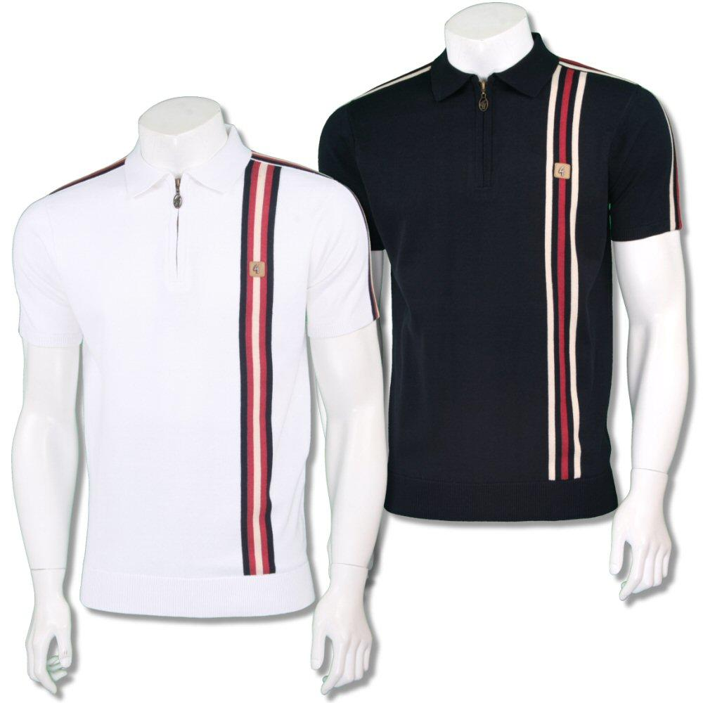 Gabicci Vintage Mens Retro Zip Collar Racing Stripe Knit Polo