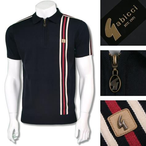 Gabicci Vintage Mens Retro Zip Collar Racing Stripe Knit Polo Thumbnail 3
