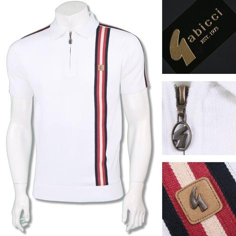 Gabicci Vintage Mens Retro Zip Collar Racing Stripe Knit Polo Thumbnail 2
