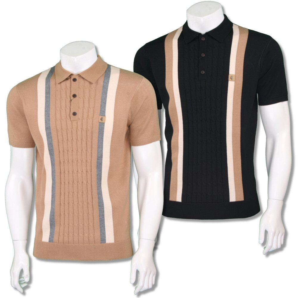 Gabicci Vintage Mens Retro Cable Knit Block Stripe Knit Polo