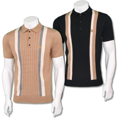 Gabicci Vintage Mens Retro Cable Knit Block Stripe Knit Polo Thumbnail 1