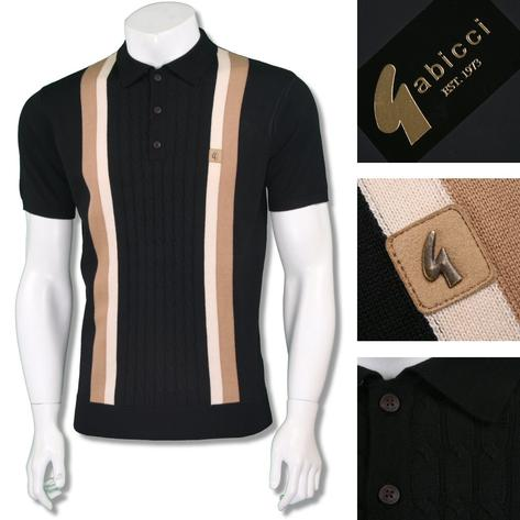 Gabicci Vintage Mens Retro Cable Knit Block Stripe Knit Polo Thumbnail 3
