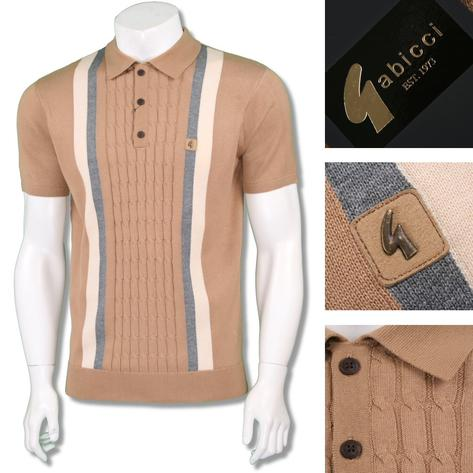 Gabicci Vintage Mens Retro Cable Knit Block Stripe Knit Polo Thumbnail 2