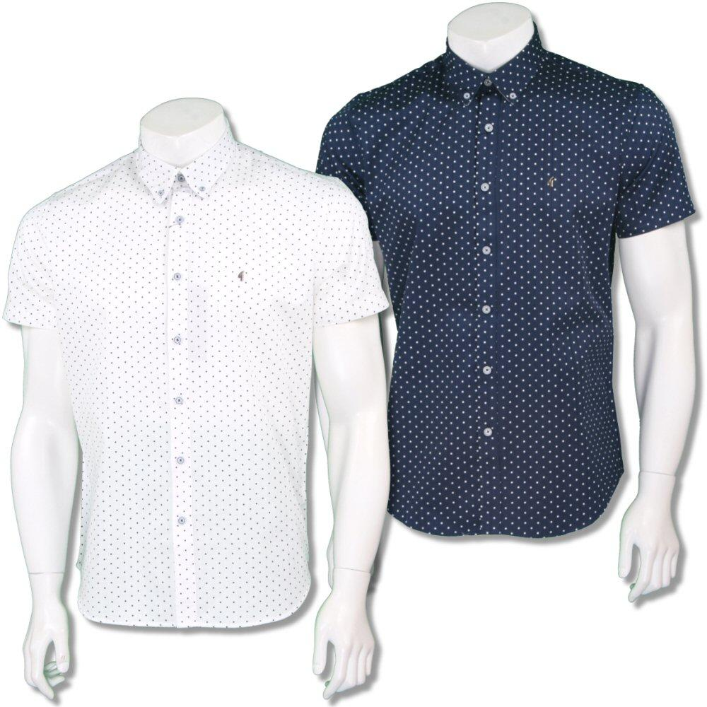 Gabicci Vintage Mens Retro Polka Dot Stripe Summer Shirt