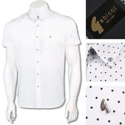 Gabicci Vintage Mens Retro Polka Dot Stripe Summer Shirt Thumbnail 2