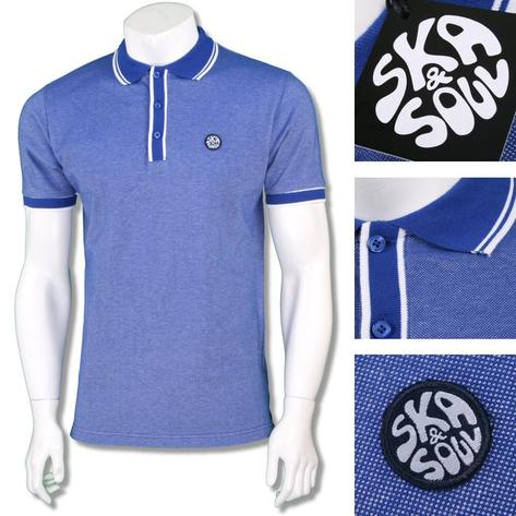 Ska & Soul Mens Retro Tipped Summer Pique Polo Shirt Thumbnail 2