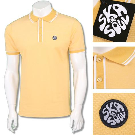 Ska & Soul Mens Retro Tipped Summer Pique Polo Shirt Thumbnail 3