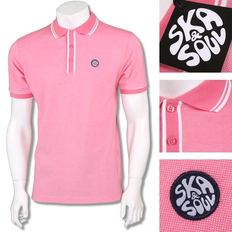 Ska & Soul Mens Retro Tipped Summer Pique Polo Shirt Thumbnail 4