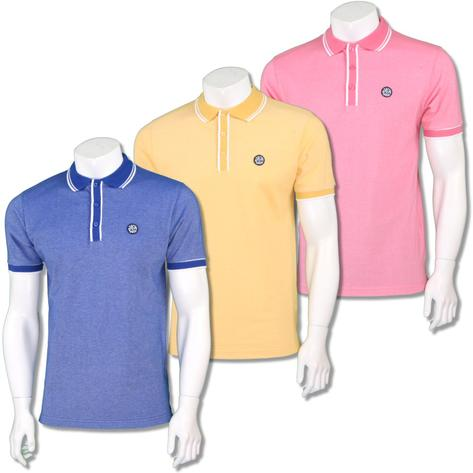 Ska & Soul Mens Retro Tipped Summer Pique Polo Shirt Thumbnail 1