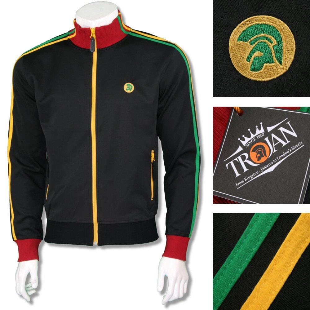 Trojan Records Mens Retro Rasta Twin Stripe Track Top Black