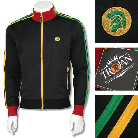 Trojan Records Mens Retro Rasta Twin Stripe Track Top Black Thumbnail 1