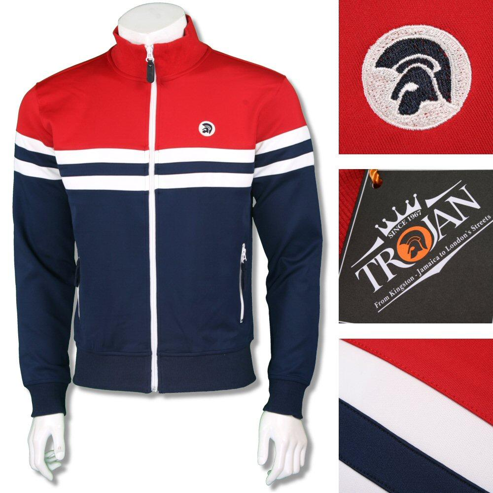 Trojan Records Mens Retro Contrast Panel Track Top Navy Red