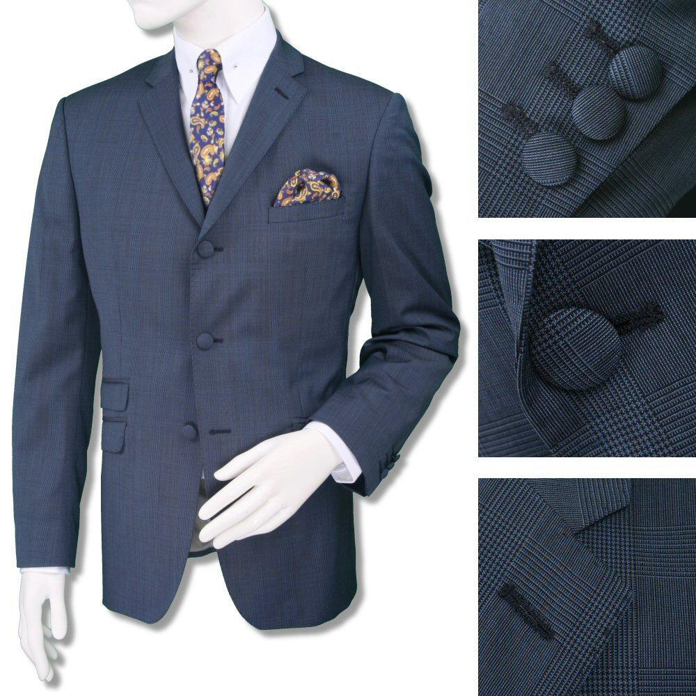 Adaptor Clothing Mod 60's Retro Overcheck 3 Button Slim STANDARD Suit Airforce