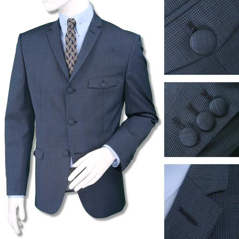Adaptor Clothing Mod 60's Retro Overcheck 3 Button Slim Wool Suit Airforce Thumbnail 1