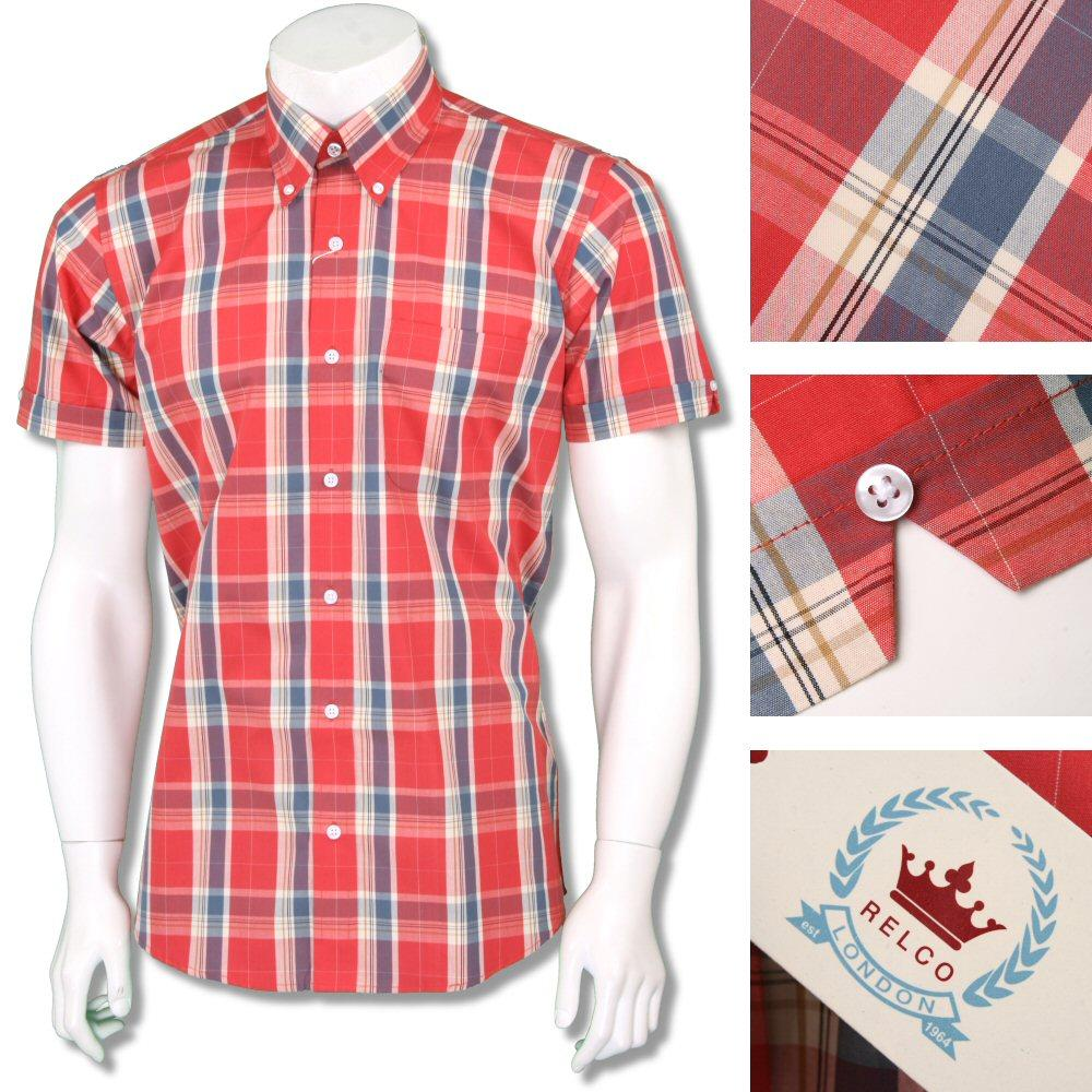 Relco Mens Retro 60's Button Down Check Short Sleeve Shirt Red