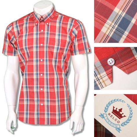 Relco Mens Retro 60's Button Down Check Short Sleeve Shirt Red Thumbnail 1