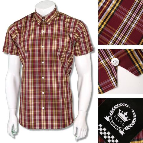 Relco Mens Retro 60's Button Down Check Short Sleeve Shirt Burgundy Yellow