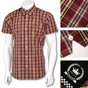 fb0ad57d3 Relco Mens Retro 60's Button Down Check Short Sleeve Shirt Burgundy Yellow