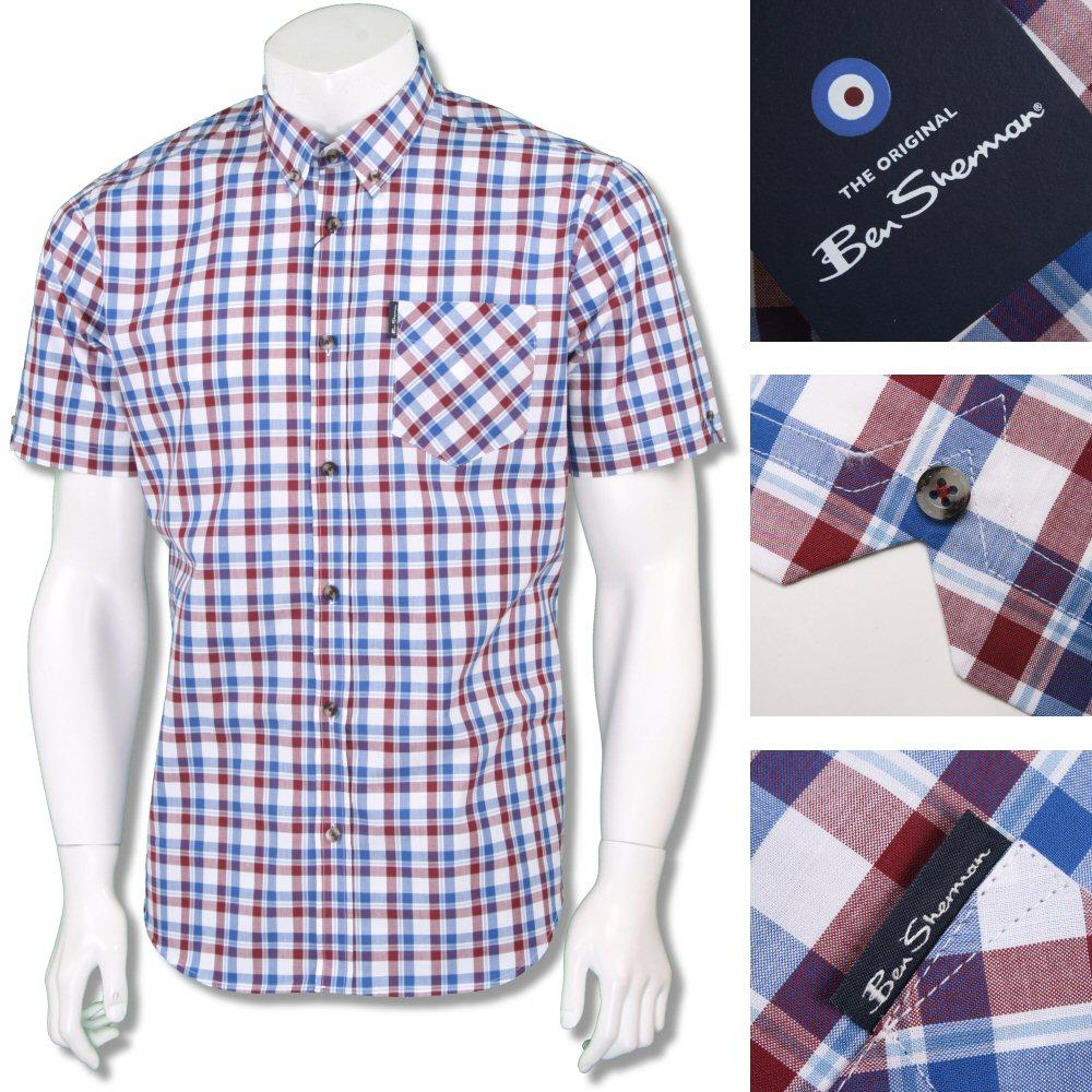 Ben Sherman Mod Retro 60's Button Down Classic Check Shirt Red/White/Blue