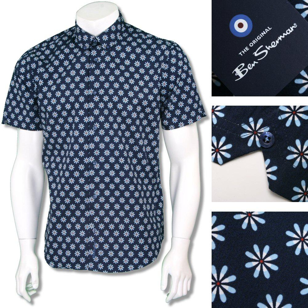 Ben Sherman Retro 60's Button Down Floral Target Print Shirt Navy Blue