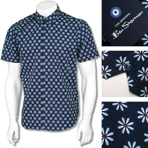 Ben Sherman Retro 60's Button Down Floral Target Print Shirt Navy Blue Thumbnail 1