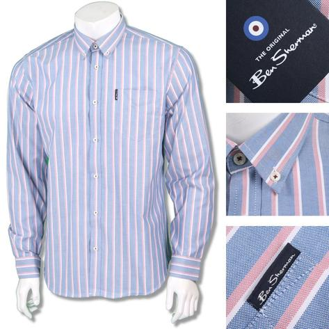 Ben Sherman Mod Retro 60's Button Down Candy Stripe Shirt Sky Blue Thumbnail 1