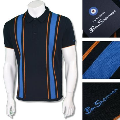 Ben Sherman Mod Retro 60's Contrast Racing Stripe Polo Shirt Navy Thumbnail 1