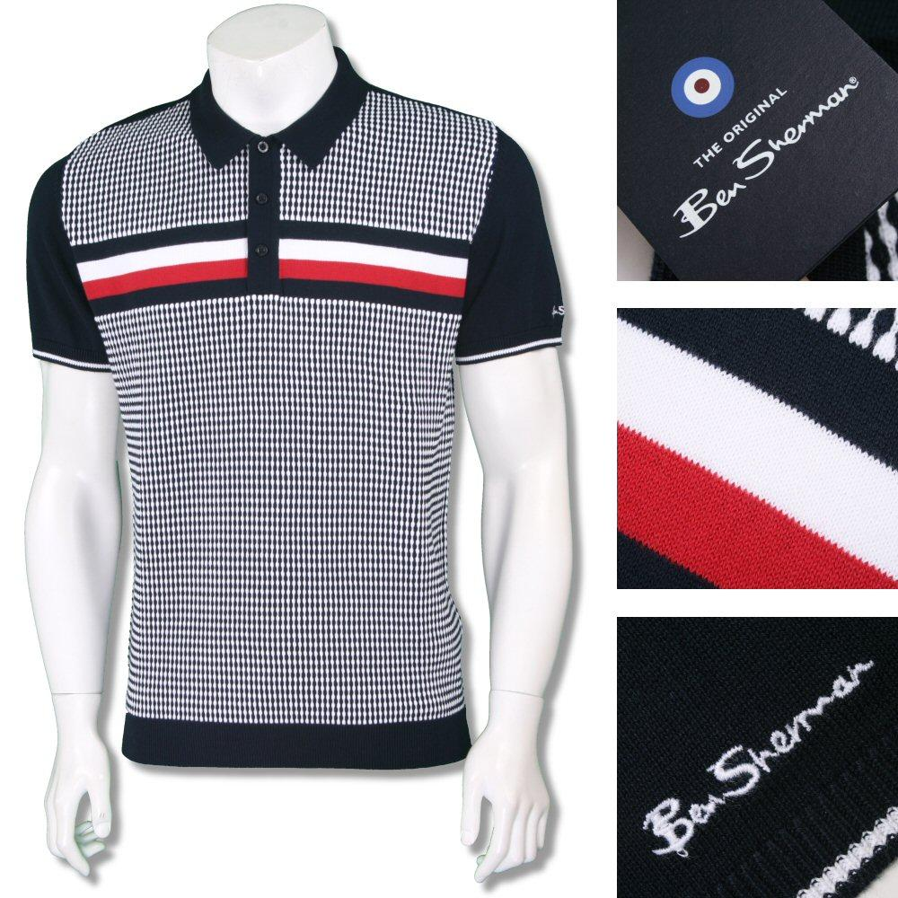 Ben Sherman Mod Retro 60's Texture Knit Chest Stripe Polo Shirt Navy