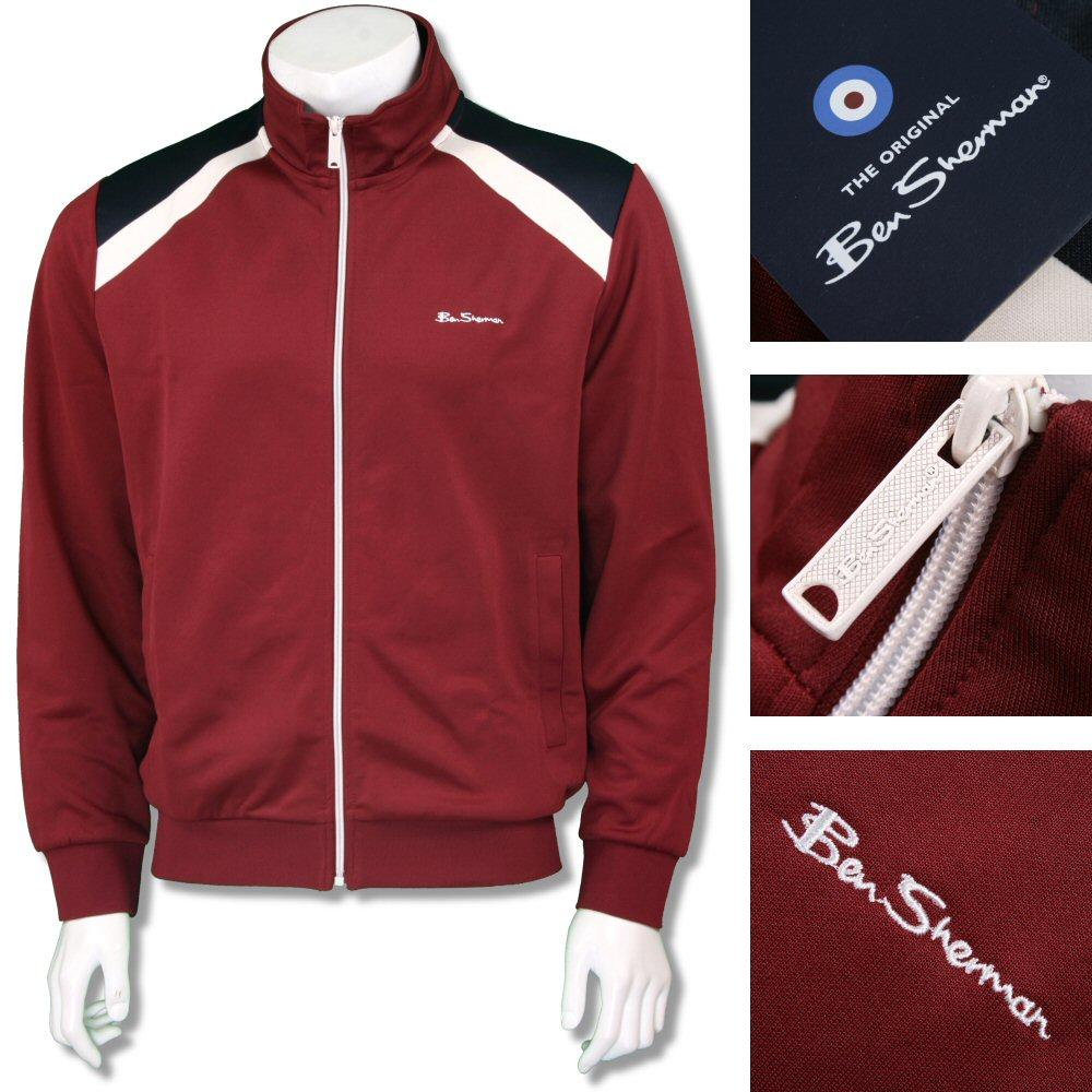 Ben Sherman Mod Retro 60's Zip Through Tricot Track Top Burgundy