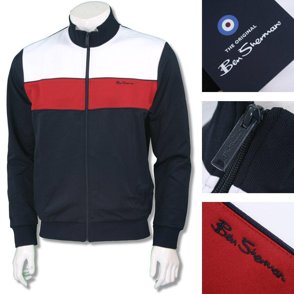 Ben Sherman Mod Retro 60's Zip Chest Stripe Tricot Track Top Navy