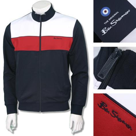 Ben Sherman Mod Retro 60's Zip Chest Stripe Tricot Track Top Navy Thumbnail 1