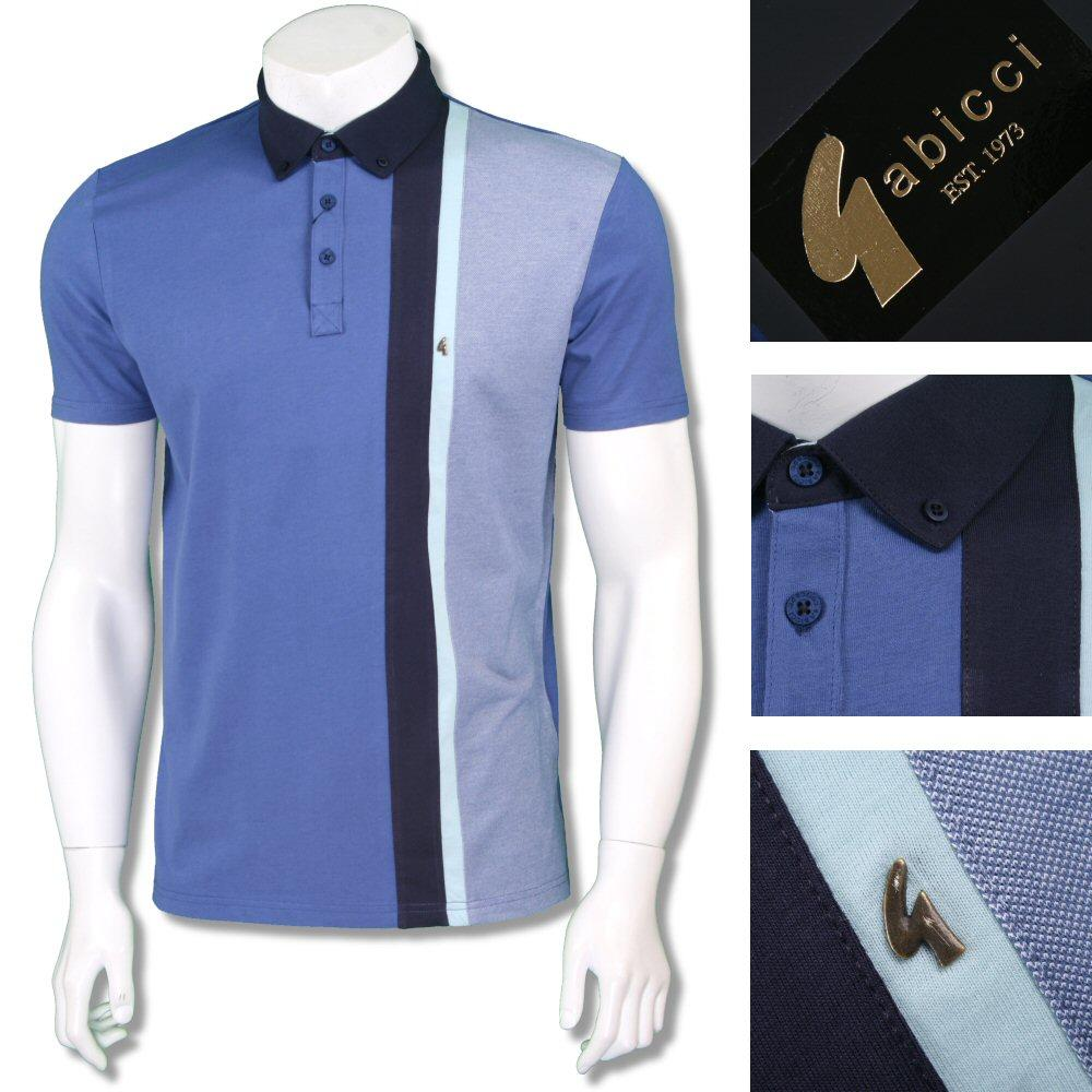 Gabicci Vintage Mod Retro 60's Cotton Vertical Stripe Polo Shirt Blue