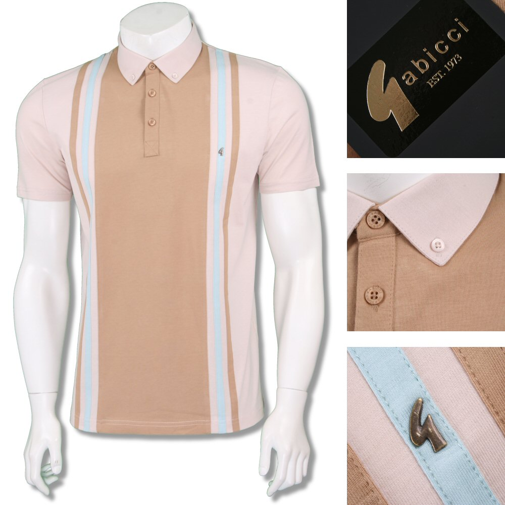 6a5f6b3c Gabicci Vintage Mod Retro 60's Panel Vertical Stripe Polo Shirt ...