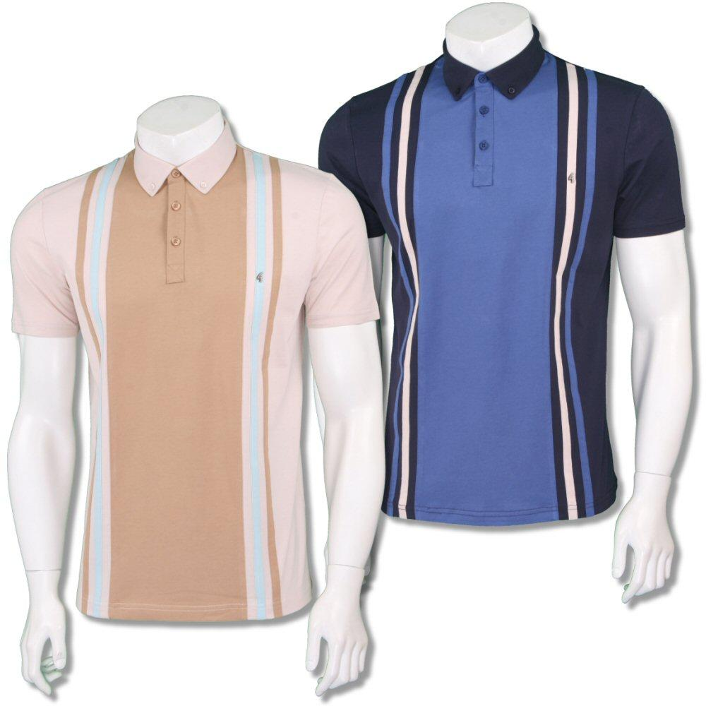Gabicci Vintage Mod Retro 60's Panel Vertical Stripe Polo Shirt