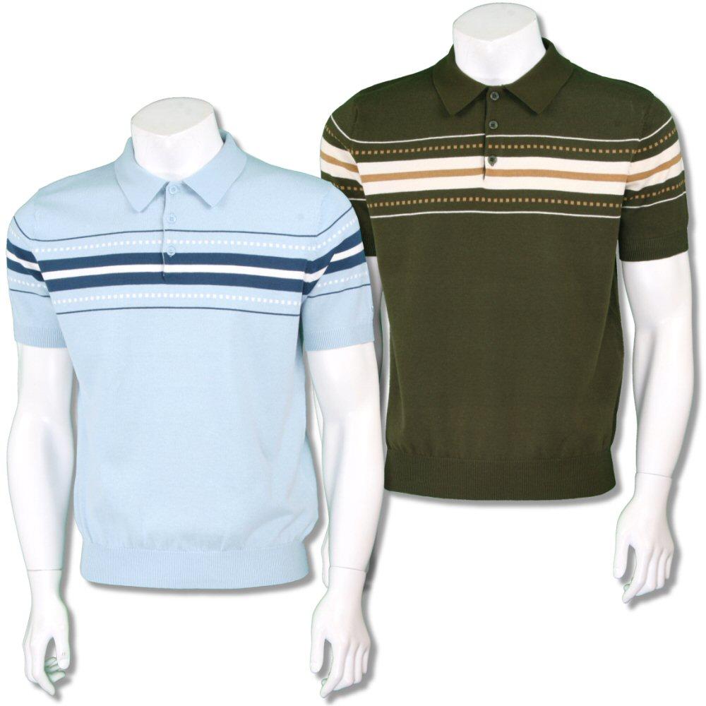 fdeca62370d Merc London Mens Retro Chest Stripe Knit Polo Shirt | Adaptor Clothing