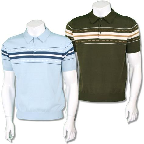 Merc London Mens Retro Chest Stripe Knit Polo Shirt