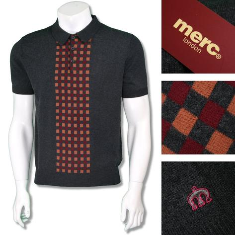 Merc London Mens Retro Checkerboard Knit Polo Shirt Thumbnail 3