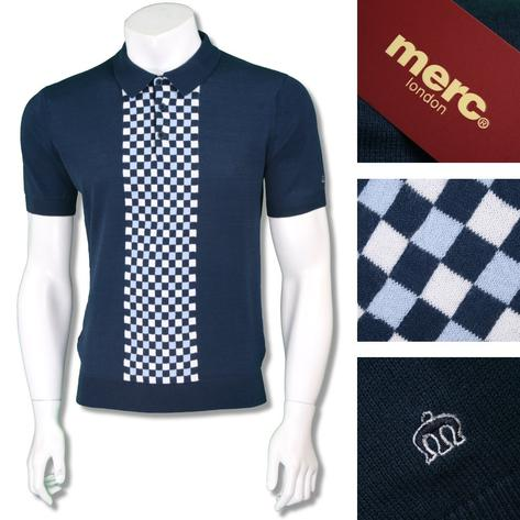 Merc London Mens Retro Checkerboard Knit Polo Shirt Thumbnail 2