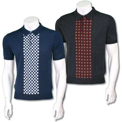 Merc London Mens Retro Checkerboard Knit Polo Shirt Thumbnail 1