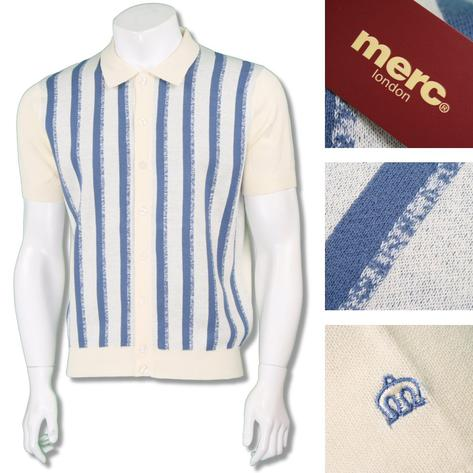 Merc London Mens Retro Texture Stripe Knit Polo Cardigan Thumbnail 2