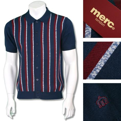Merc London Mens Retro Texture Stripe Knit Polo Cardigan Thumbnail 3