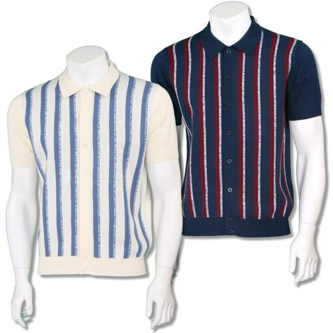 Merc London Mens Retro Texture Stripe Knit Polo Cardigan Thumbnail 1