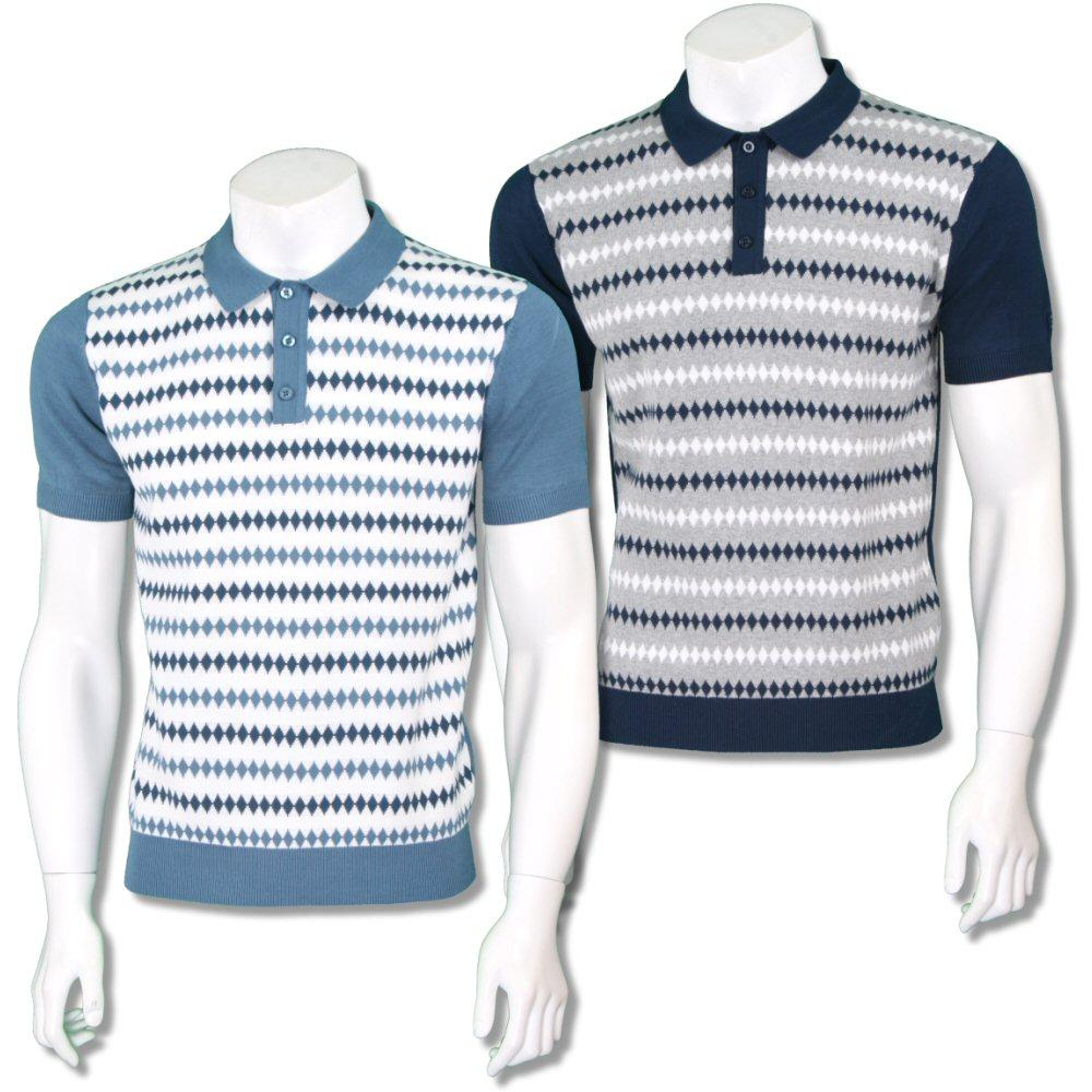 Merc London Mens Retro Diamond Stripe Knit Polo Shirt
