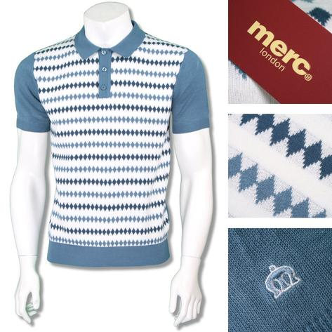 Merc London Mens Retro Diamond Stripe Knit Polo Shirt Thumbnail 2